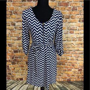 Tacera Blue and White Zig Zag Stripe Dress Sz PS